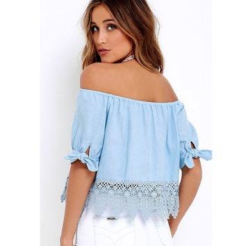 Elegant Blue Off Shoulder Female Blouse Shirt Sexy Summer 2017 Blouse Women Tops Half Sleeve Crochet Lace Blusas Camisa Feminina
