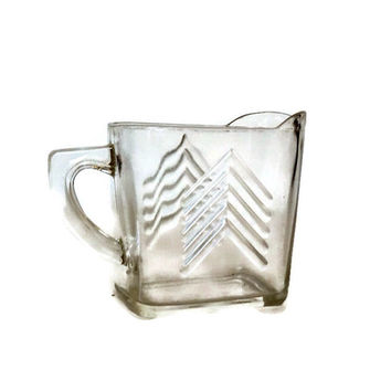Vintage Hazel Atlas, Chevron Pattern, Crystal Glass Pitcher Creamer, 1930's, Retro Kitchen, Farmhouse