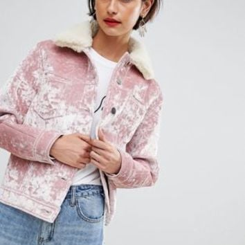 ASOS DESIGN velvet pocket detail jacket at asos.com