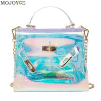 Blue Transparent Handbag Holographic Stachel Lady Purse Clutch Women Chain Messenger Bag Large Capacity Laser Lock Bag Beach Bag-in Crossbody Bags from Luggage & Bags on Aliexpress.com | Alibaba Group