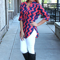 Come on Down Chevron Blouse - Coral