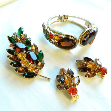 Vintage JULIANA, D&E Verified Amber, Topaz and Orange Cut Glass and Rhinestones Clamper Bracelet, Brooch and Earrings Demi Parure Set