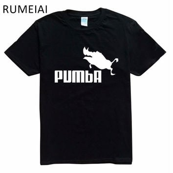 RUMEIAI 2017 funny tee cute t shirts homme Pumba men women 100% cotton cool tshirt lovely kawaii summer jersey costume t-shirt