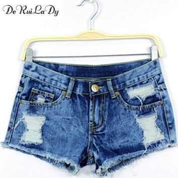 YI-NOKI Women Clothing Denim Shorts 2017 Summer New Women Shorts Ruffle Fashion Wild High Waist Blue Vintage Shorts
