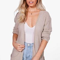 Amber Loose Knit Slouchy Pocket Cardigan | Boohoo