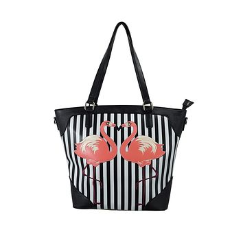 Retro Pink Flamingo Black White Striped Tote Bag