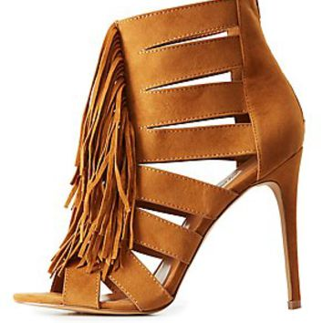 FRINGED & CAGED DRESS SANDALS