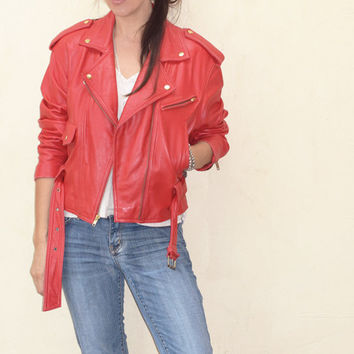 Vintage Leather Motorcycle Jacket WILSONS Women's Red Cropped MOTO Biker Jacket Size S/M