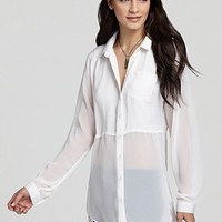 Free People Top - Best of Both Worlds Button Down | Bloomingdale's