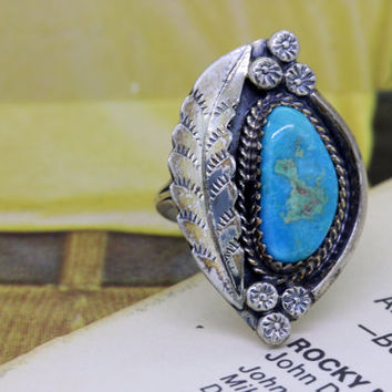 Vintage Boho Turquoise Ring | Gemstone Statement Ring | Silver Gypsy Ring | Native American Jewelry | 1970s Hippie Jewelry | Size 6.25