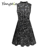 Vestods Summer Style 2017 Women Dress Black Starry Sky Printed Casual High Waist Cute A Line Mini Dress