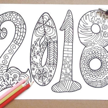 2018 new year adult coloring book kids page happy new year card colouring home decor meditation diy printable print digital lasoffittadiste