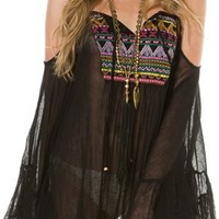 EMBROIDERED FRONT TIE COVER UP DRESS | Swell.com