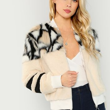 Oring Zip Up Faux Fur Weekend Casual Jacket
