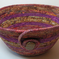 Handmade Coiled Fabric Basket or Bowl, gold/brown and purple