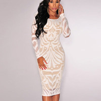 Long Sleeve Lace Midi Bodycon Dress