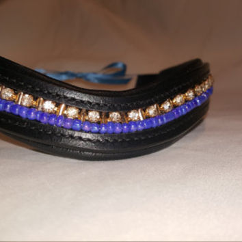 Bling English Curved Xtra-Full Browband Periwinkle Blue with White and Gold Rhinestone