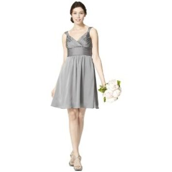 TEVOLIO™ Women's Satin V-Neck Dress with Removable Flower - Neutral Colors