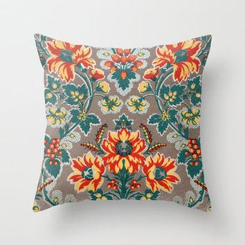 Vintage Floral Pattern 18th Century Decorative Ornate Fancy Throw Pillow by Iconographique