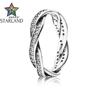 Starland Fine Detail Authentic 925 Sterling Silver Rose Gold Twist Of Fate Clear CZ Women Rings Wedding Jewelry Birthday Gift