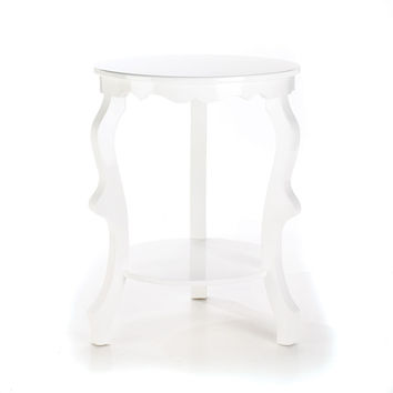 ROUND SCALLOPED ACCENT TABLE