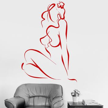 Vinyl Wall Decal Sexy Naked Woman Abstract Sketch Wall Stickers Unique Gift (060ig)