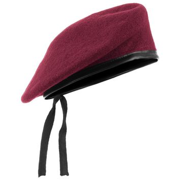Military Style Tactical Classic Army Beret Mens Hat Uniform Cap Wool mahroon 011