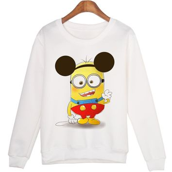 Harajuku Women Sweatshirt Jumper Funny Mouse Minions Print Casual Hooded For Lady Long Sleeve Pullovers White Hoodies