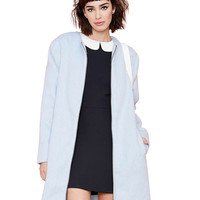 Light Blue Open Front Long Sleeves Straight Coat With Pockets