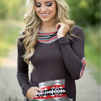 Printed Casual Long-Sleeved Hooded Sweater