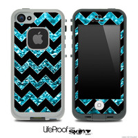 Black & Sparkly Blue Chevron Print Skin for the iPhone 4/4s or 5 LifeProof Case