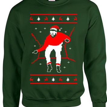 Drake Ugly Christmas Sweaters, Drake Santa Hat Hotline Bling, Funny Ugly Xmas 1800 Hotline Bling Sweaters, Forest Green 1800 Hotline Sweater