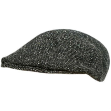 Men's Irish Tweed Flat Cap, Made in Ireland, Donegal Tweed Hat- Black, Medium