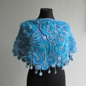 Blue Crochet Shawl, Freeform, Irish Crochet, Shawl Wrap, Shrugs Boleros, Unique Crochet