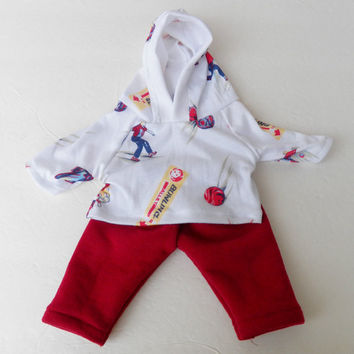 """Bitty Baby Boy Clothes Handmade Twin or Baby Doll 15"""" White bowling print cotton knit hoodie & burgundy wine red sweatshirt pants 2 pc set"""
