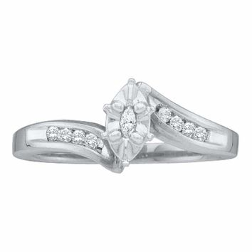 10kt White Gold Women's Marquise Diamond Marquise Bridal Wedding Engagement Ring 1-6 Cttw - FREE Shipping (US/CAN)