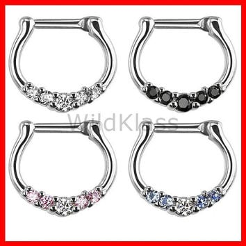 Five-Gems 316L Surgical Steel Septum Clicker Ring 16g Earring 14g Cartilage Piercing Tragus Nose Belly Nipple Septum Ring - Sold by Piece