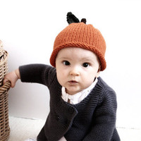 Hand Knitted Orange Hat Newborn and 03M by beliz82 on Etsy