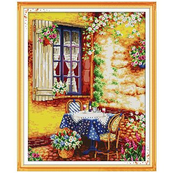 Summer afternoon Patterns Counted Cross Stitch Diy 11CT 14CT Cross Stitch Set Landscape Cross-Stitch Kit Embroidery Needlework