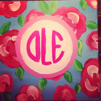 8x8 Lilly Pulitzer monogram painting