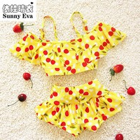 sunny eva Children's swimsuit girls cherry bebek bikini baby girl swimwear girls swim swimsuits for children girls swimming