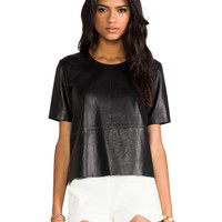 Mason by Michelle Mason Leather Tee in Black