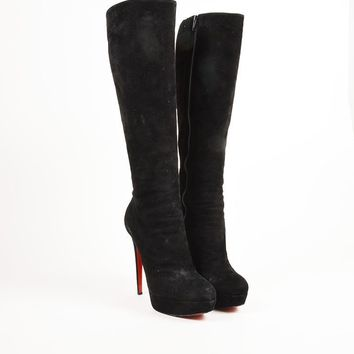 DCCK2 Christian Louboutin Black Suede High Heel Bianca Botta 140 Tall Boots