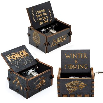 Star Wars Force Episode 1 2 3 4 5 New Black Music Box  Zelda  Happy Birthday Castle In The Sky Hand Cranked Theme Music Birthday Gifts AT_72_6