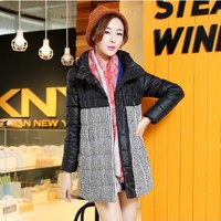 Women : Black and White Hooded Winter Down Coat YRB0409