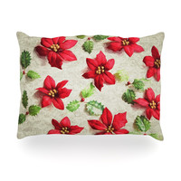 """Sylvia Cook """"Poinsettia"""" Holiday Leaves Oblong Pillow"""