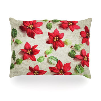 "Sylvia Cook ""Poinsettia"" Holiday Leaves Oblong Pillow"