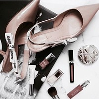 Dior Trending Women Stylish Pumps High Heel Sandals Shoes(4-Style) Smooth Surface Apricot I-ALS-XZ