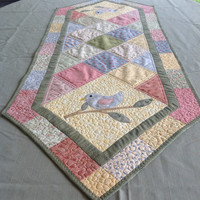 Quilted Table Runner -Pastels for Spring - Patchwork and Applique