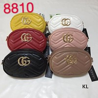 """Gucci"" Women All-match Fashion GG Letter Round Waist Bag Metal Chain Single Shoulder Messenger Bag"